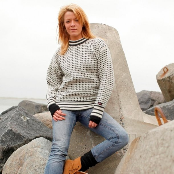 Islandsk sweater m. rund hals - hvid - 100% ren ny uld - Norwool
