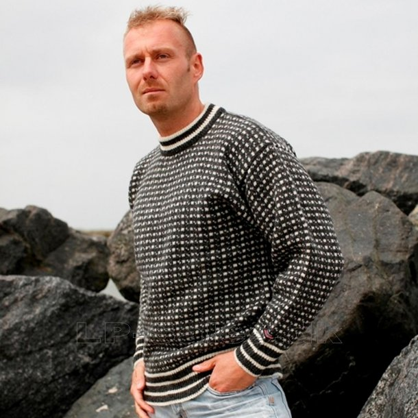 Islandsk sweater m. rund hals - koks - 100% ren ny uld - Norwool