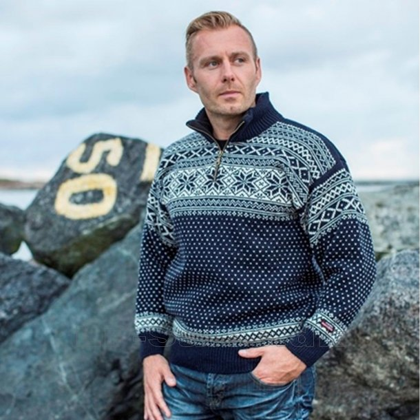 Norsk sweater - navy - 100% ren ny uld - Norwool