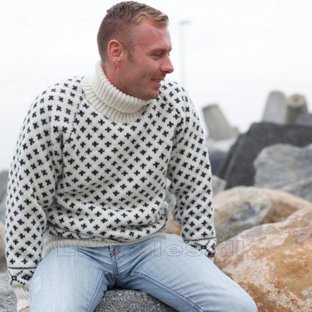 Islandsk sweater m. rullekrave - hvid - 100% ren ny uld - Norwool
