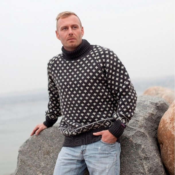 Islandsk sweater m. rullekrave - 100% ren ny uld - Norwool