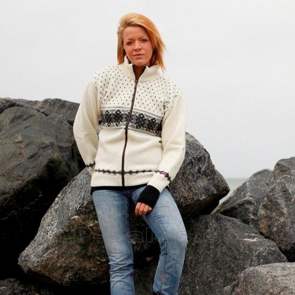 Norsk cardigan uldtrøje - hvid - 100% ren ny uld - Norwool