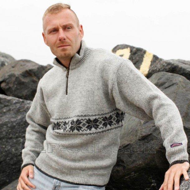 Norsk sweater - lysgrå - 100% ren ny uld - Norwool