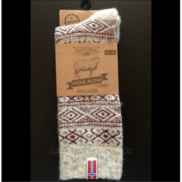 Uldsokker - grå/bordeaux - med 80% uld