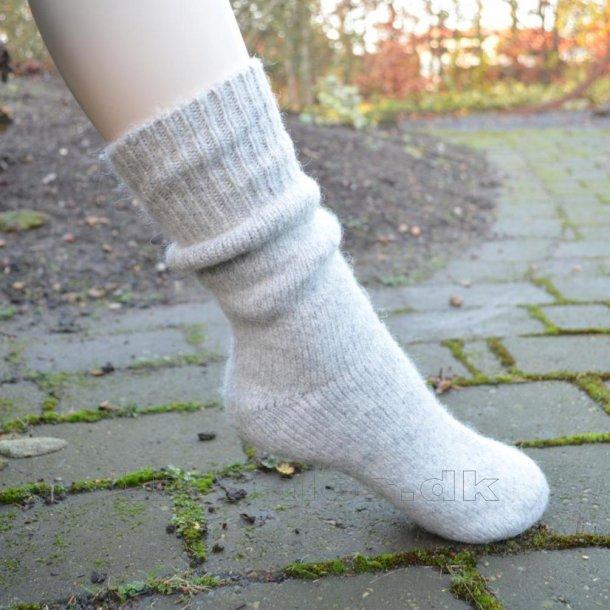 Uldsokker - gråmeleret - med 80% uld