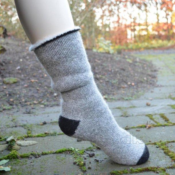 Uldsokker - grå thermal brushed - med 80% uld