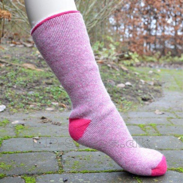 Uldsokker - pink thermal brushed - med 80% uld