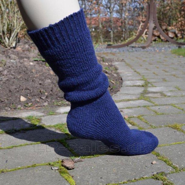 Uldsokker - blå - med 80% uld