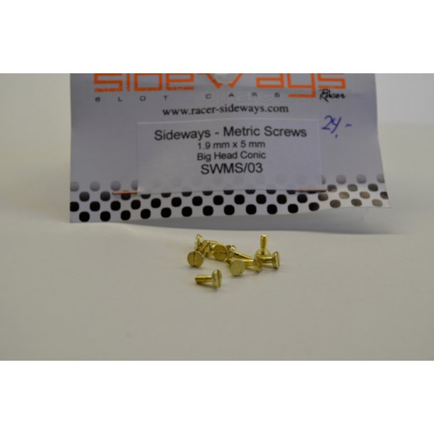 Skruer - metric screws 1,9 x 5,3mm large head konisk (10stk.)