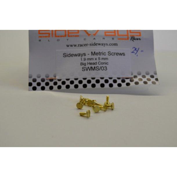 Skruer - metric screws 1,9 x 5mm big head konisk (10stk.)