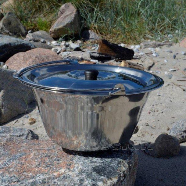 Rustfri gryde m. låg - 14 liter - Farmcook