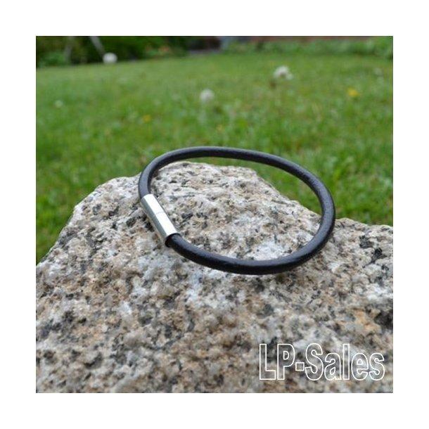 Læderarmbånd - sort læder - LAW01