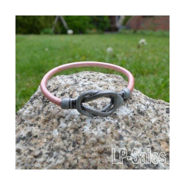 Læderarmbånd - pink læder - LA04