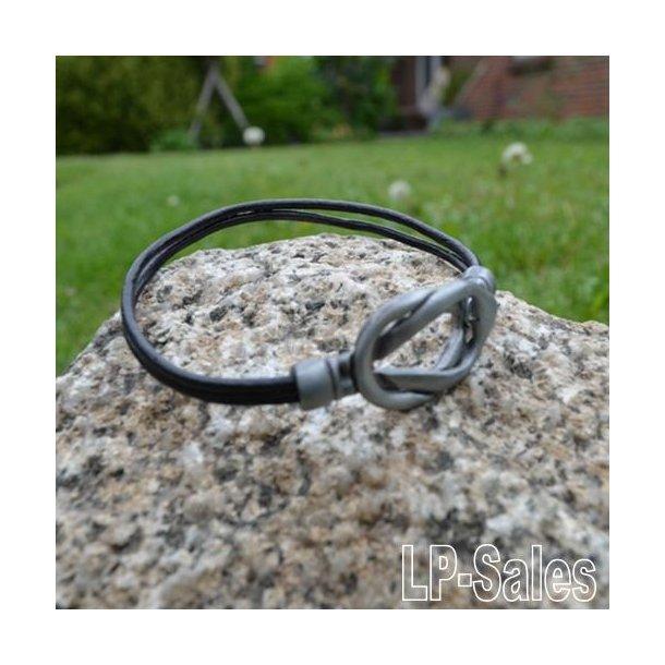 Læderarmbånd - sort læder - LA06