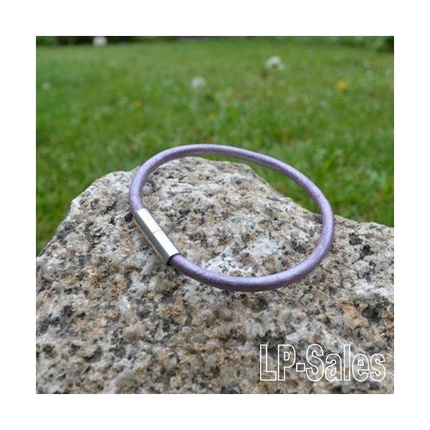 Læderarmbånd - lilla læder - LAW03