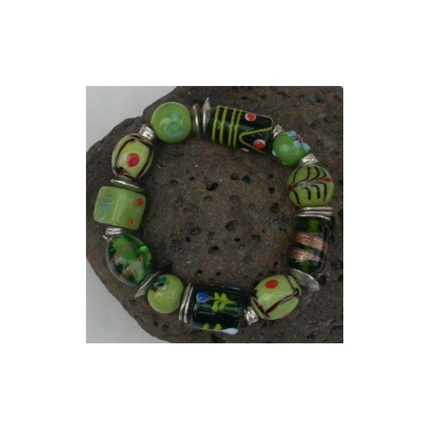 Glasperle armbånd-grøn