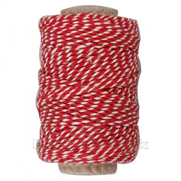 Bomuldssnor - rød/hvid - 50m