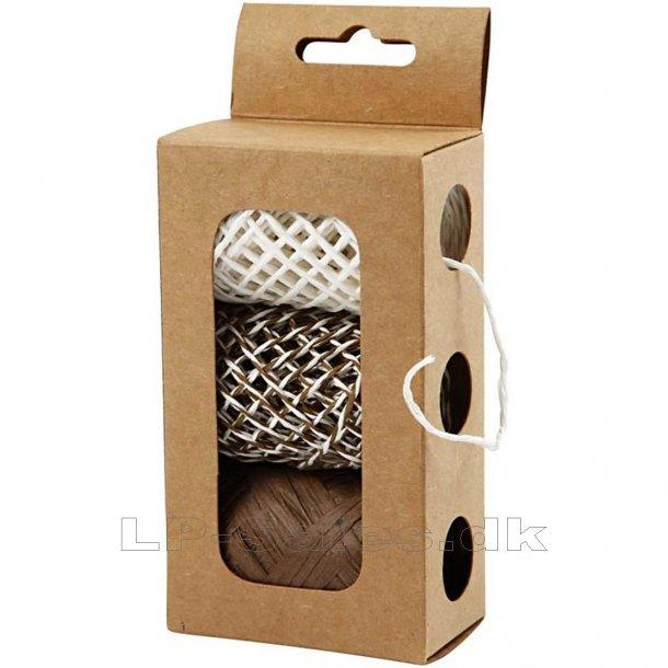 Papirsnor - beige/brun harmoni - 3x10m