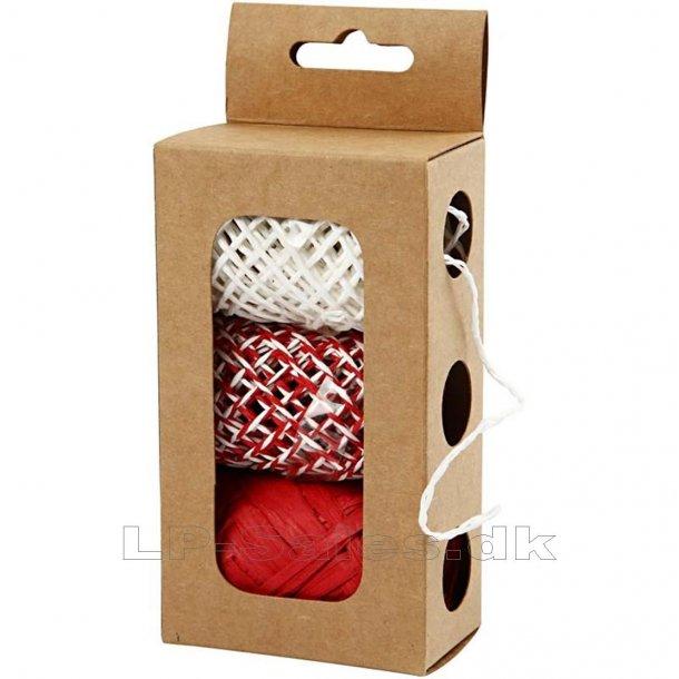 Papirsnor - rød/hvid harmoni - 3x10m
