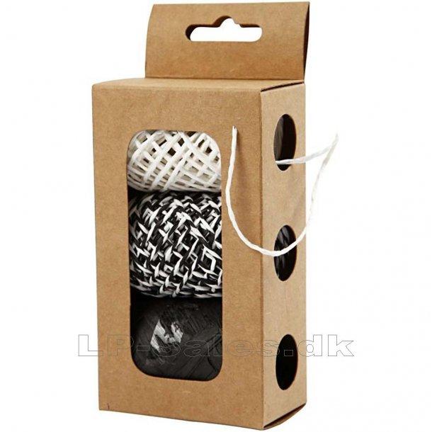 Papirsnor - sort/hvid harmoni - 3x10m